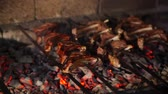 cozinhado : Cooking meat on the coals. Kebabs on skewers cooked on coals in the smoke. Roasted meat on the fire. Cooking lamb on charcoal.