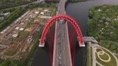 outstanding : Long red bridge Stock Footage