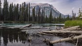4K Time lapse film video movie Moving Timelapse Three Sisters Campground Bow River with look towars Mount Fable.