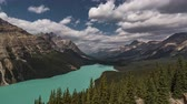 4K Time lapse film video movie Timelapse Clouds Moving Over Peyto Lake in Banff Nationalpark Alberta Canada. Shot taken in Banff Nationalpark Canada Alberta.