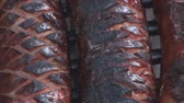 gevrek : Extreme close up of grilling sausage on the fire pit 3