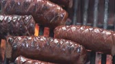 gevrek : Extreme close up of grilling sausage on the fire pit Stok Video