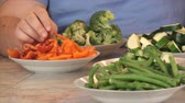 bruxelas : Variety of cut vegetables in the kitchen 2. Stock Footage