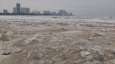 zasněžený : Vertical pan of frozen beach and city. Week of negative temperatures in Chicago. Three days after coldest day in 20 years. Dostupné videozáznamy
