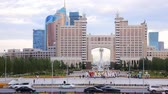 borough : Astana, Kazakhstan - July 17, 2016: Colorful entry into capital of Kazakhstan - Astana - elements of Soviet decoration style, Stalins empire. post-Soviet architecture Stock Footage