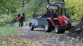 outing : Russia, Saint Petersburg - October 14, 2017: In Park gardeners raked with tracks yellow foliage. Compact tractor with cart for leaves. Autumn Park management, gardening equipment Stock Footage
