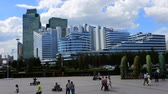 borough : Astana, Kazakhstan - July 17, 2016: New capital of Kazakhstan city Astana. Modern architecture compound of concrete, glass and metal. post-Soviet architecture
