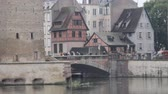 közép : La Petite France, Strasbourg, France - September 19, 2017: Henry Tower Strasbourg Alsace, donjon, Covered bridge, mill channels.