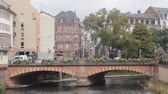 sailboat : Strassburg, France - 19.09.2017: Quiet city channels with characteristic half-timbered house (Fachwerk Haus) stone bridges and embankments, walk on water