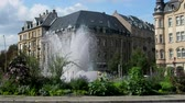 jezera : Metz, France - September 20, 2017: city fountain in city of Metz in middle of roundabout