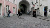 mallas : Tallinn, Estonia - September 1, 2017: Girls dancers (in tights) dancing in the city center on the pavement, happening, city entertainment Archivo de Video