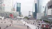 kuruluş : Paris, France - 24.09.2017: Defense (La Défense) often called as Business Belly of Paris (Womb of the World). Timelapse shows business bustle of Parisians
