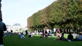 townsfolk : Paris, France - 24.09.2017: park of Luxembourg Palace as place of mass recreation of citizens at weekend