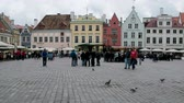 trein : Tallinn, Estonia - September 1, 2017: Guildhall square is considered center of Tallinns Old town. Tallinn attractions and city excursion