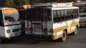 haulage : India, Dharamsala - March 11, 2018: Indian local buses carry passengers. extreme travel on local transport.
