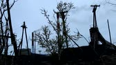 inclinado : Death of the Earth. The silhouette of half-dead tree, smoked huge pipes, wires stretch, polluting plant