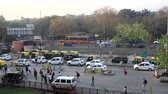 India, new Delhi - March 26, 2018: Station square with transport and passers-by. Top view Stock mozgókép