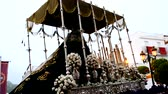 naufrágio : Holy week procession in Spain, Andalusia. Nazarene Jesus, Our Lady of Sorrows.