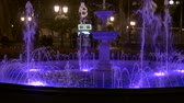 fountain show : HD Panoramic view of Odessa fountain attrection with backlighting in the night.
