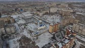 4K The drone is flying away from the blue orthodox church Wideo