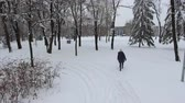 4K A woman is walking along the snowy path in the winter park