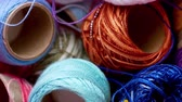 crocheting : Panning footage of crochet cotton threads Stock Footage