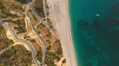 hrubý : Aerial top-down view of Myrtos beach, the most famous beach of Kefalonia