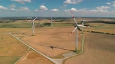 litwa : Aerial view of spinning wind turbines