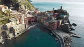 doğru : Aerial view of Vernazza, the famous Cinque Terre town, Liguria, Northern Italy