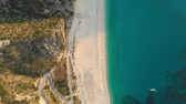hrubý : Aerial top-down view of Myrtos beach, the most famous and beautiful beach of Kefalonia