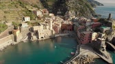 Aerial view of Vernazza, the famous Cinque Terre town, Liguria, Northern Italy