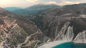 Aerial view of Myrtos beach, the most beautiful beach of Kefalonia