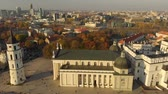 Aerial morning view of Vilnius Cathedral Square Wideo