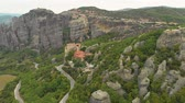 abadia : Impressive aerial panoramic view of the famous beautiful Meteora valley