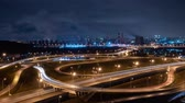 piping : Timelapse night traffic on the highway with blurred cars