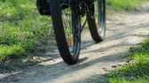 Bicycle Riding on the Trail. Closeup Shooting of Wheels