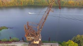 cabine : Aerial footage. Vertical panorama of the old gantry crane.