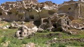 anatolia : HD fooage. Abanoned houses in rocks. Handheld camera