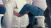 osmanlı : Slow motion footage. Washing of the Feet before prayer