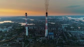 cooling towers : Aerial drone footage. Coal fire power station at sunset.