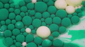 tingidos : Amazing green and white bubbles of paint on the oil surface. Paint in oil. Stock Footage