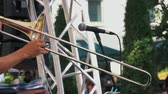 cucurucho : Slow motion shot of Musicians is playing on trombone in concert. Archivo de Video