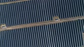 solarstrom : Aerial drone footage. Flight over solar panel farm top down view. Renewable green alternative energy
