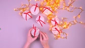 horizontální : DIY homemade new-year toys made of threads, top view Dostupné videozáznamy