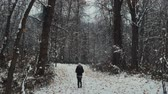 belo : a girl walking on a snow path with a pan up towards the trees Vídeos