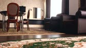 furniture : chair room  Interior with chairs and hotel carpets beautiful luxury Stock Footage