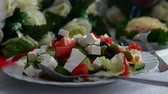 фета : salad with olives and cheese greens healthy breakfast restaurant Video