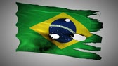 valente : Brazil perforated, burned, grunge waving flag loop alpha Stock Footage