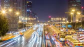 pequim : Time lapse of busy freeway traffic at night in beijing city,china