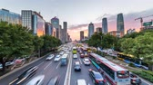 Пекин : Time lapse of busy freeway traffic at sunset in beijing city,china Стоковые видеозаписи